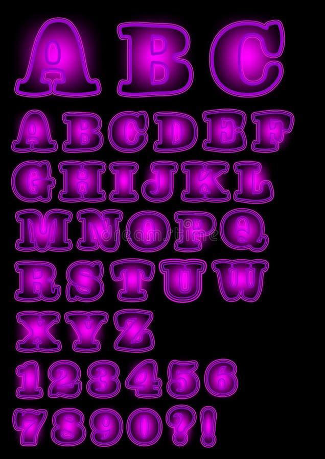 Alfabeto maiuscolo porpora al neon su fondo nero, fonte audace con la lampadina porpora, numeri, punto interrogativo, punto escla royalty illustrazione gratis