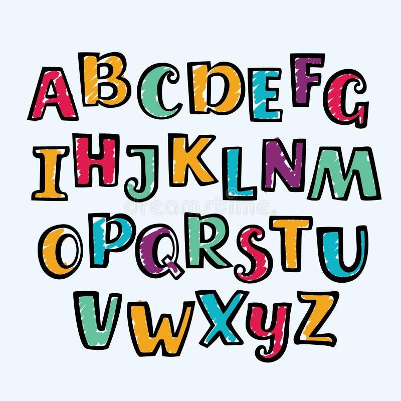 Alfabeto maiuscolo variopinto dell'indicatore disegnato a mano Fonte e segni del disegno di stile del bambino illustrazione vettoriale