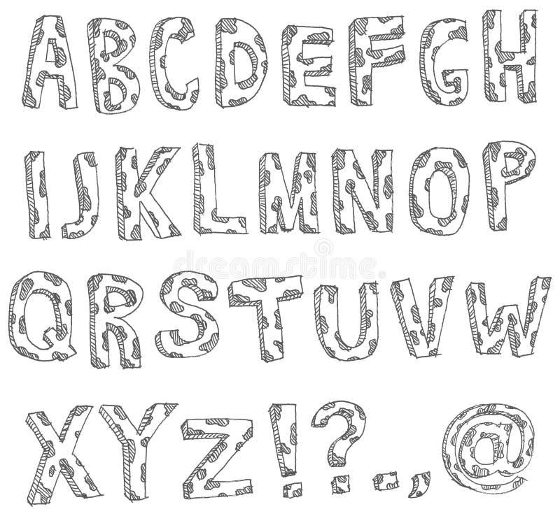 Alfabeto manchado drenado mano ilustración del vector