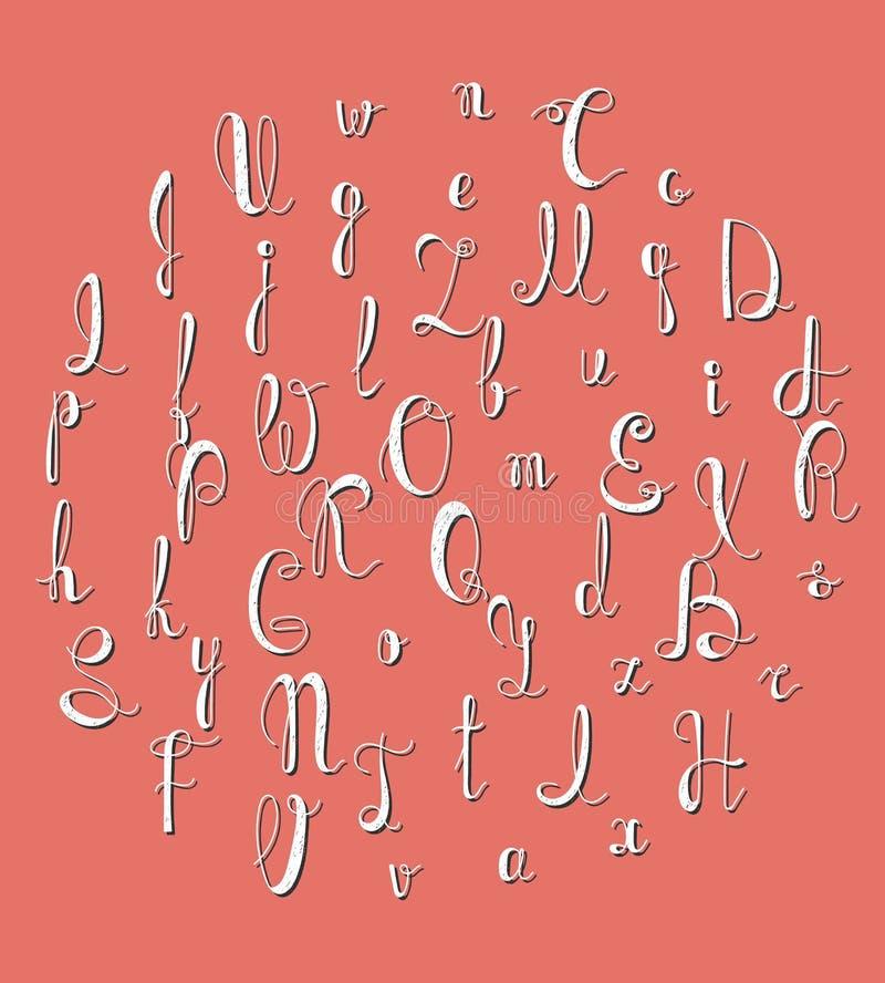 Alfabeto manuscrito Fuente caligráfica Pone letras a hecho a mano stock de ilustración