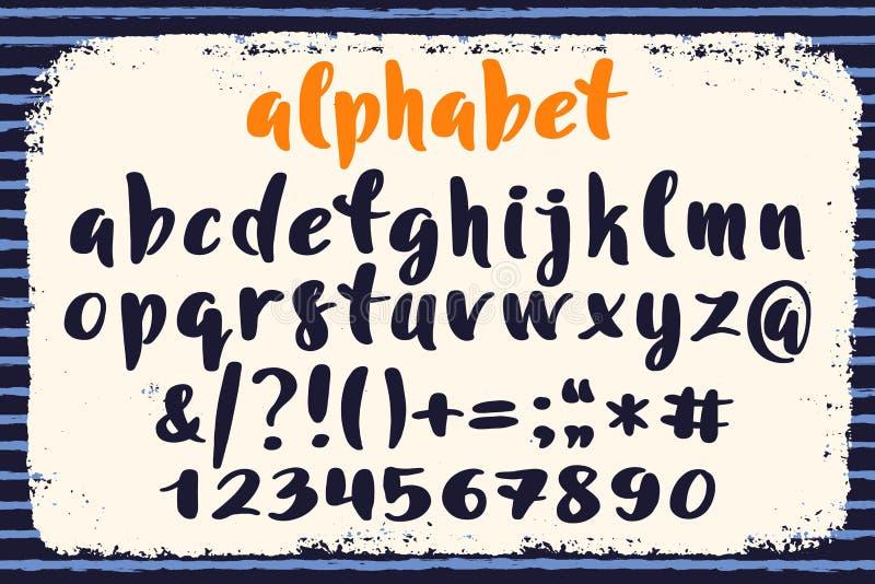 Alfabeto, marcas e números tirados mão Rotulação escrita à mão no estilo da escova Roteiro moderno no vetor Artístico feito a mão ilustração stock