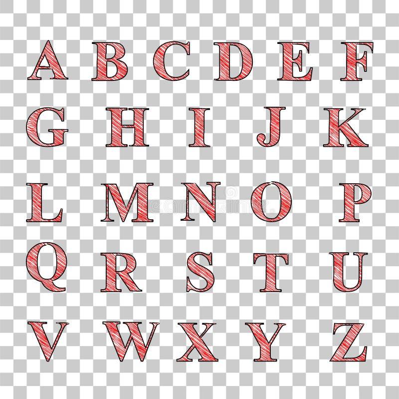 Alfabeto mayúsculo de la raya diagonal roja de A a Z, en el fondo transparente del efecto stock de ilustración