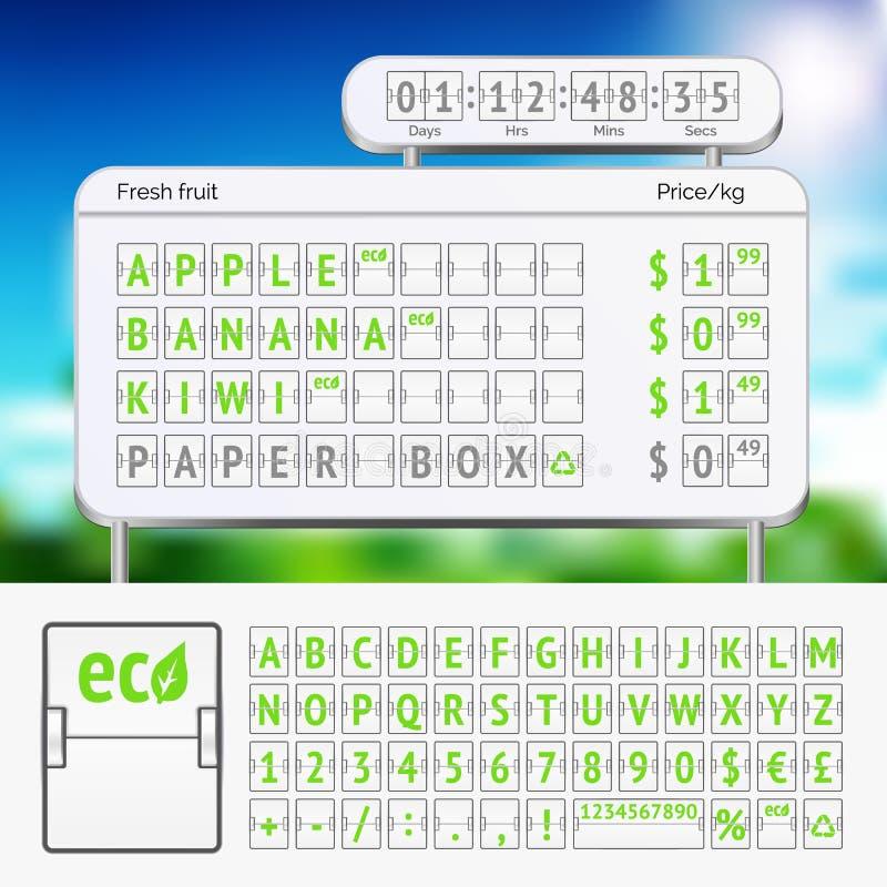 Alfabeto mecânico do verde do placar com números ilustração do vetor