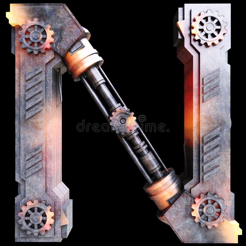 Alfabeto mecânico feito do ferro ilustração royalty free