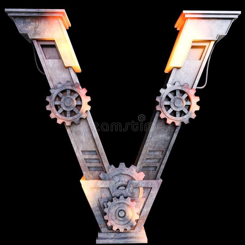Alfabeto mecânico feito do ferro ilustração do vetor