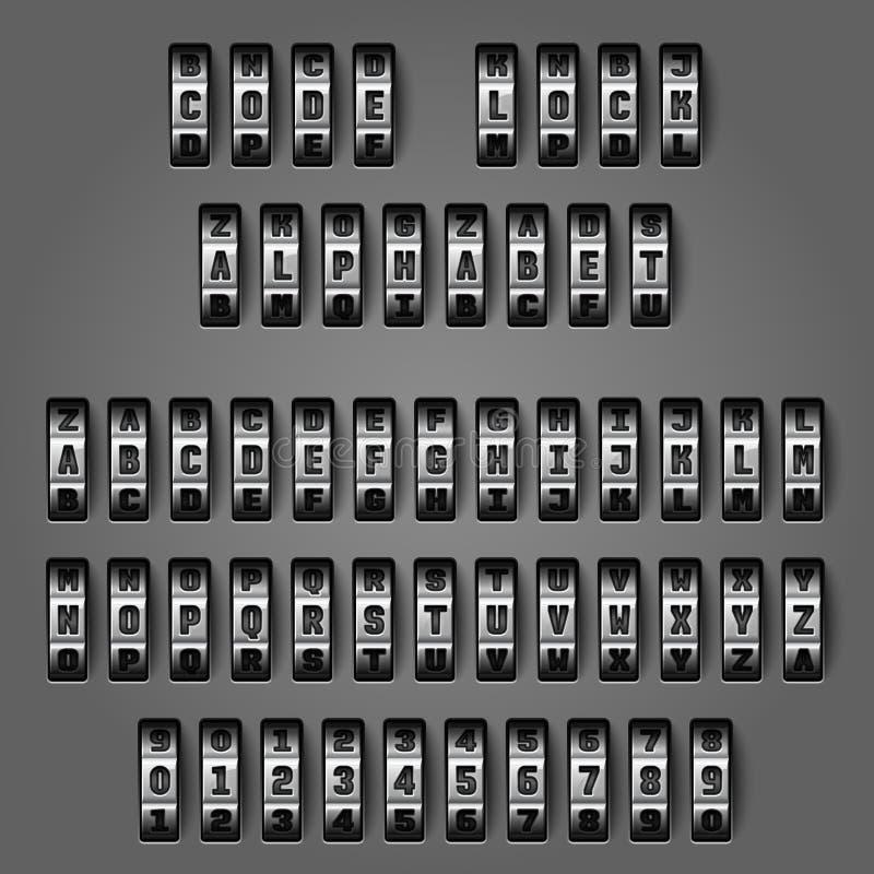 Alfabeto mecânico para códigos da combinação ilustração do vetor