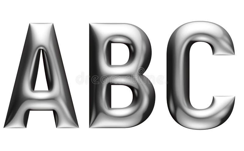 Alfabeto metálico con la fuente linear, letras de A B C, efecto del cromo con el cartabón, fondo blanco stock de ilustración