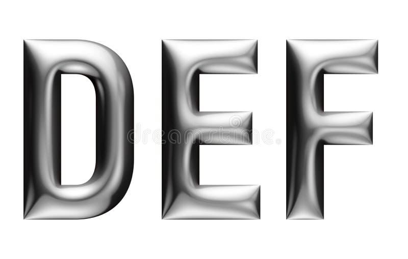 Alfabeto metálico con la fuente linear, letras de D E F, efecto del cromo con el cartabón, fondo blanco libre illustration