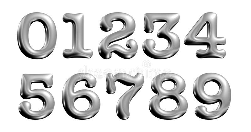 Alfabeto metálico do cromo, números, zero, uns, dois, três, quatro, ilustração 3d ilustração do vetor