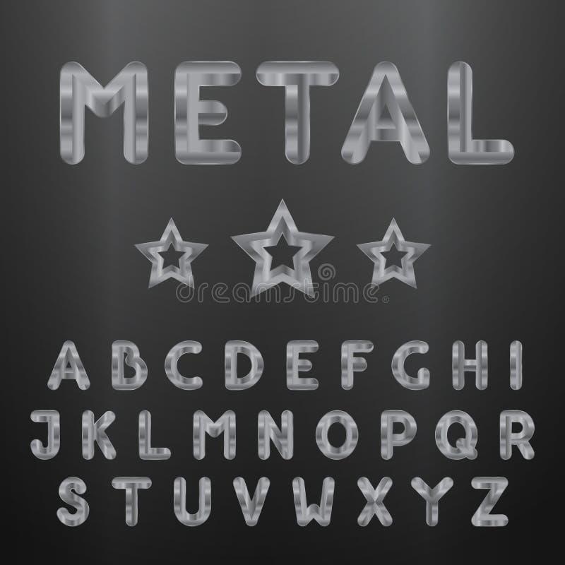 Alfabeto metálico Grupo das letras 3d inoxidáveis ilustração do vetor
