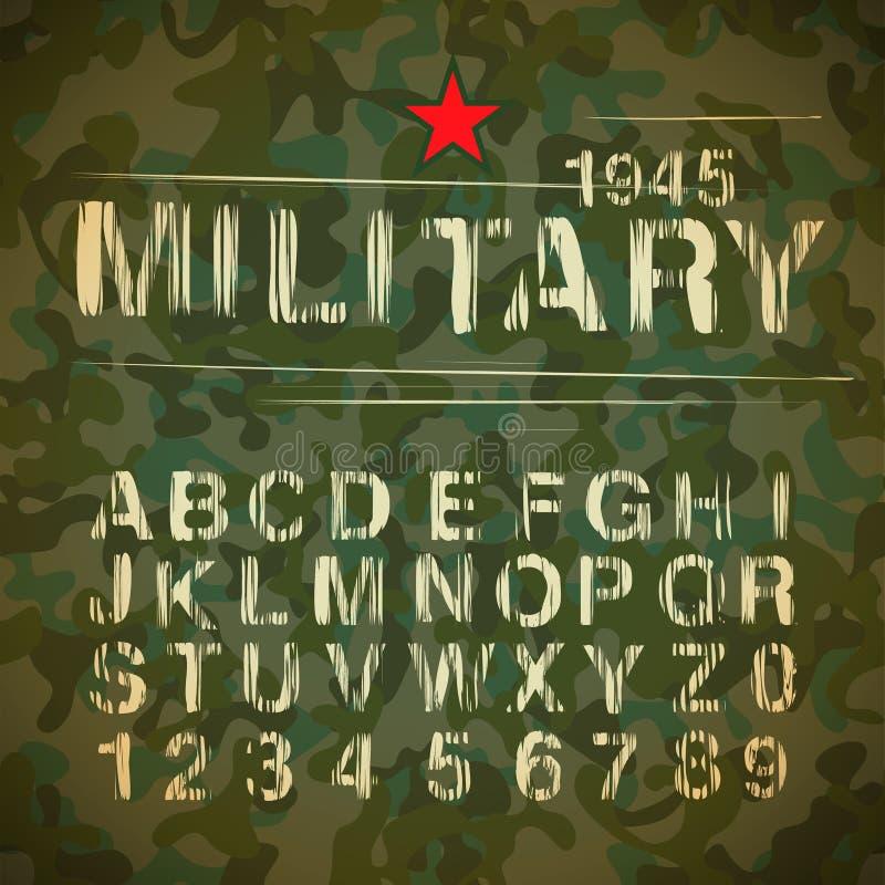 Alfabeto militar del vintage ilustración del vector