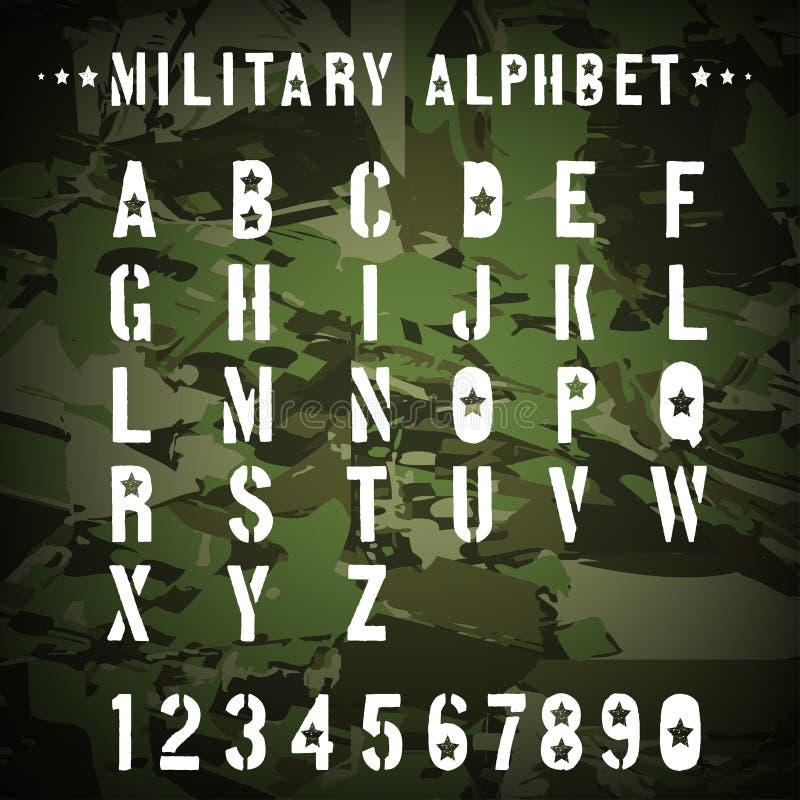 Alfabeto militar do estêncil em uma camuflagem ilustração stock