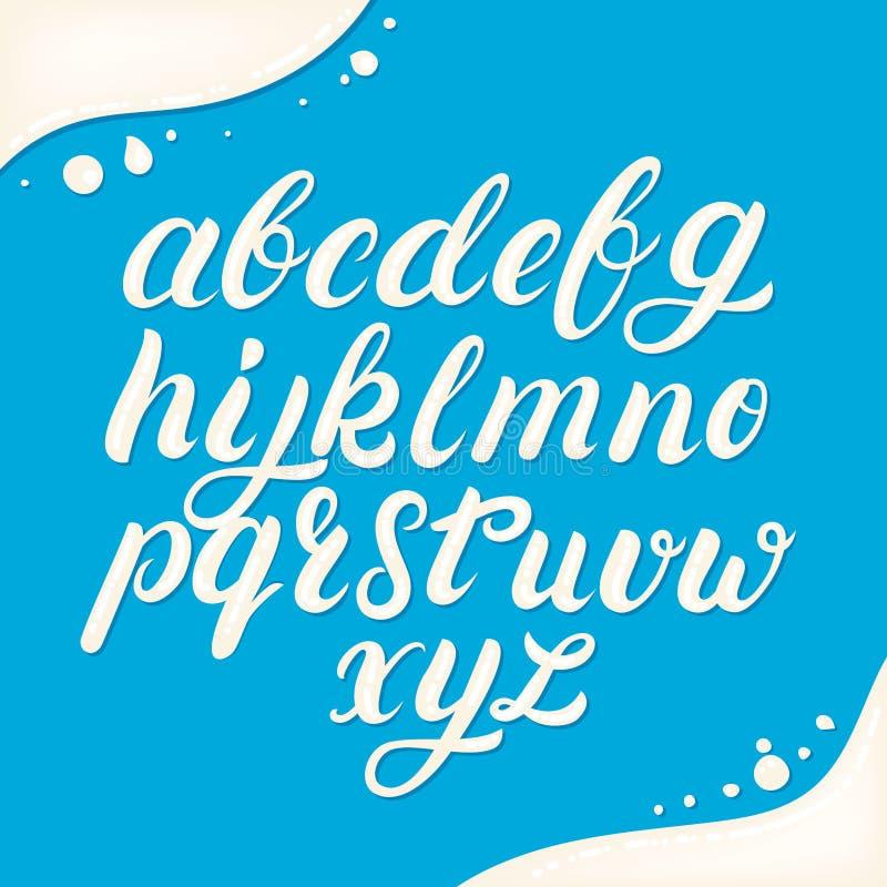Alfabeto minúsculo escrito mano hecho de la leche libre illustration