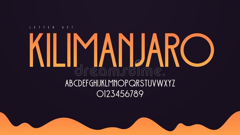 Alfabeto moderno del vector del art déco, sistema de la letra mayúscula, fuente, tipografía libre illustration