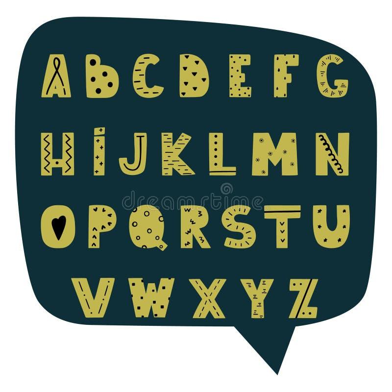 Alfabeto moderno dibujado mano en estilo escandinavo libre illustration