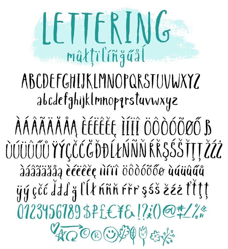 Alfabeto multilingue di stile dell'iscrizione illustrazione di stock