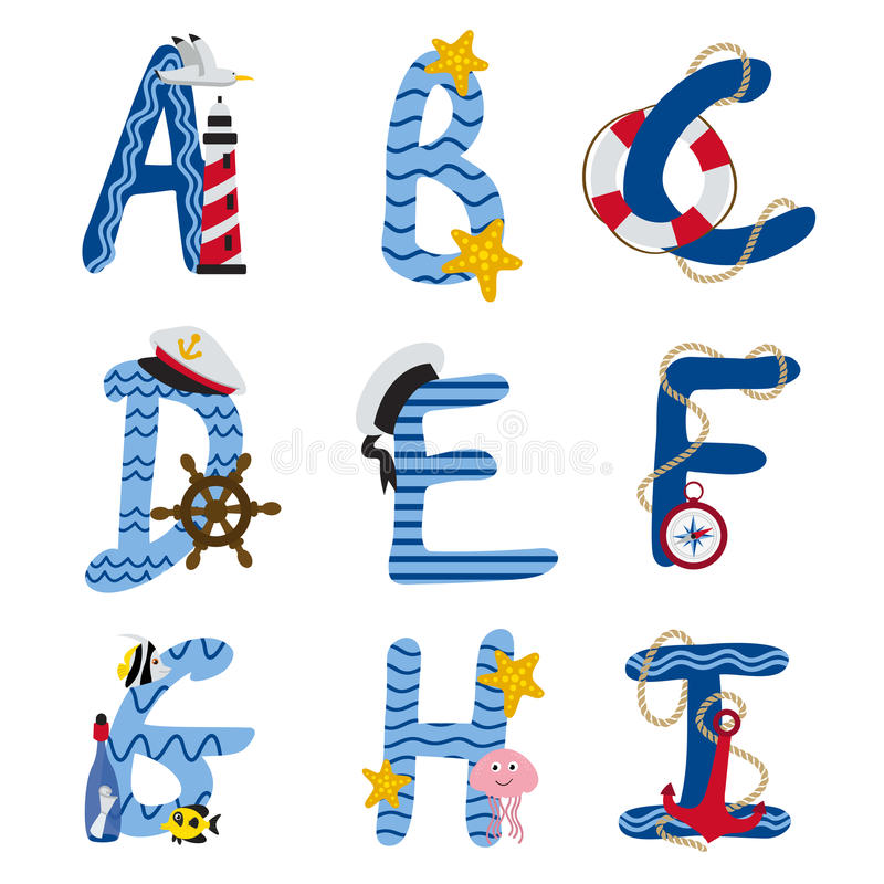 Alfabeto náutico de A a I ilustración del vector