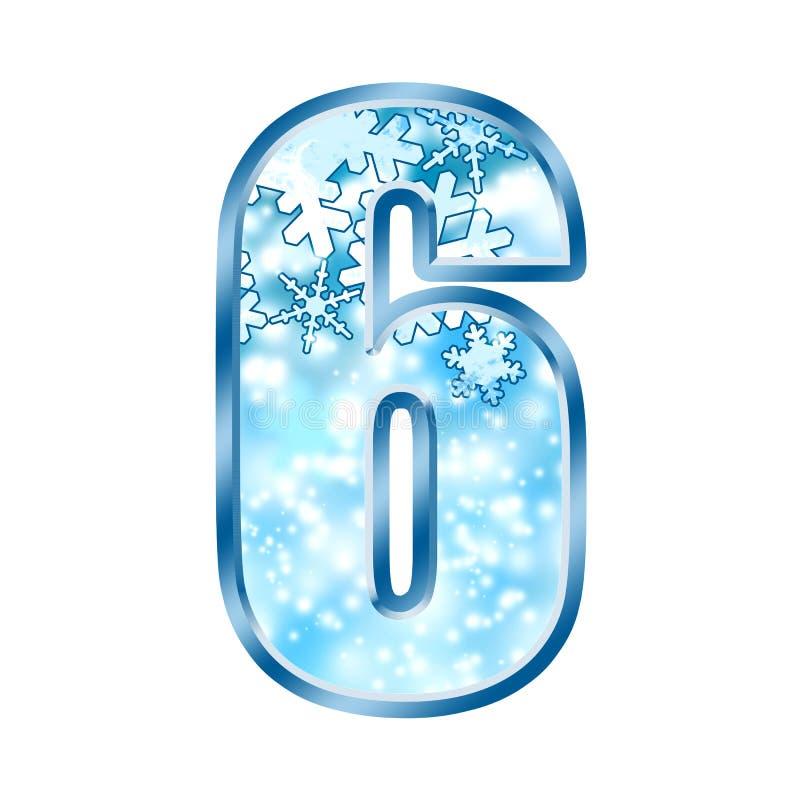 Alfabeto número 6 seises del invierno libre illustration