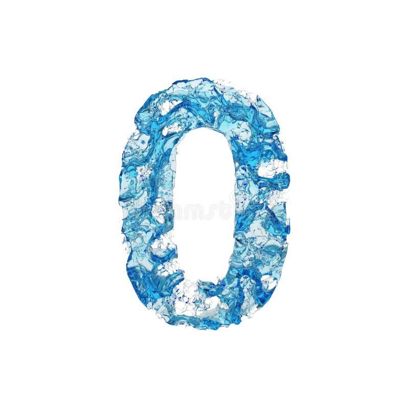 Alfabeto número 0 Fonte líquida feita da água transparente azul 3d rendem isolado no fundo branco ilustração stock