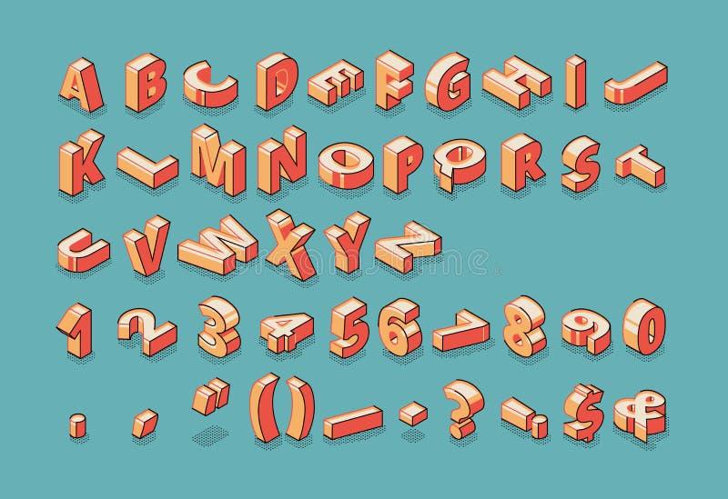 Alfabeto, números e marcas de pontuação isométricos ilustração do vetor