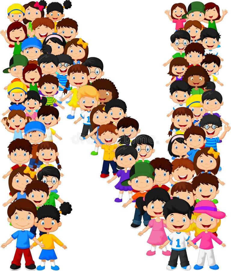 Alfabeto N do formulário das crianças ilustração do vetor