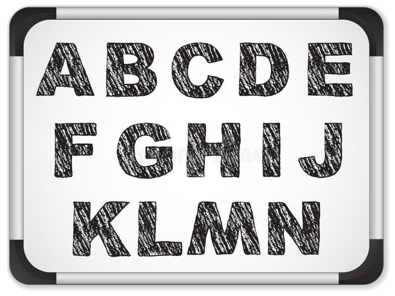 Alfabeto nero su Whiteboard illustrazione vettoriale