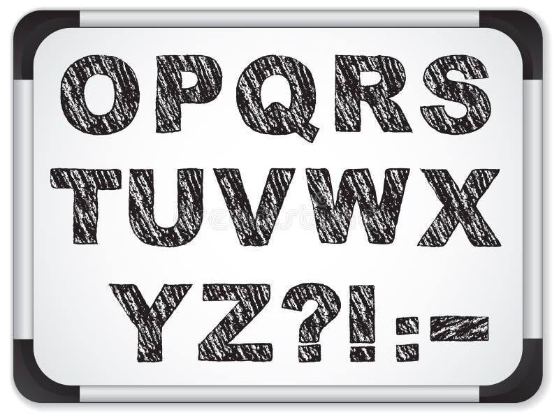 Alfabeto nero su Whiteboard illustrazione di stock