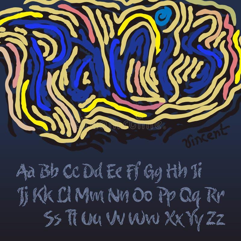 Alfabeto no estilo do artista Vincent van Gogh ilustração stock