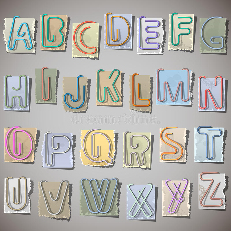 Alfabeto no papel velho ilustração stock