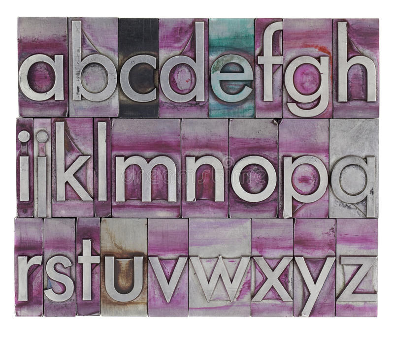 Alfabeto no tipo da tipografia do metal imagens de stock