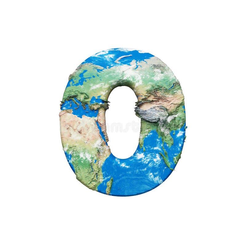 Alfabeto numero 0 del globo della terra del mondo Fonte mondiale globale con la mappa della NASA 3d rendono isolato su fondo bian illustrazione vettoriale