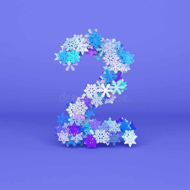 Alfabeto numero 2 di inverno Fonte di Natale fatta dei fiocchi di neve 3d rendono illustrazione vettoriale