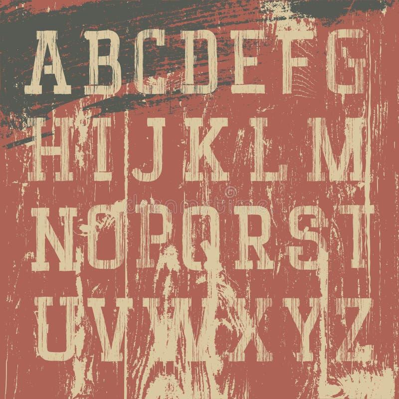 Alfabeto occidental del grunge de la vendimia stock de ilustración
