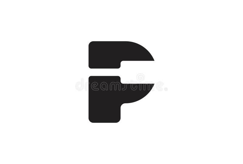 Alfabeto P Logo Design do vetor ilustração stock
