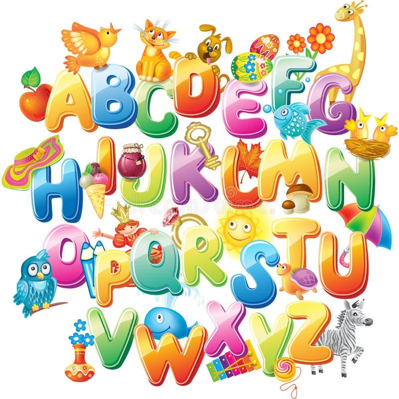 Alfabeto para crianças com imagens ilustração royalty free