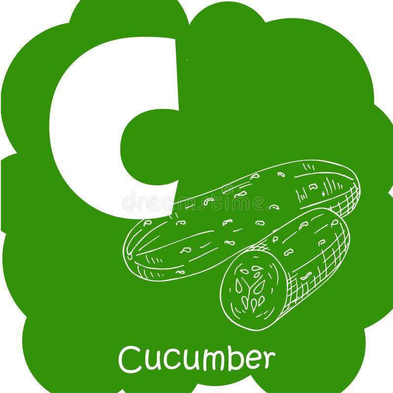 Alfabeto para crianças com vegetais C-pepino saudável do ABC da letra ilustração royalty free