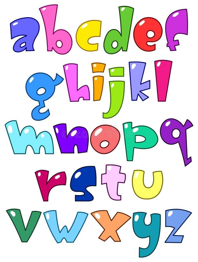Alfabeto pequeno dos desenhos animados ilustração stock