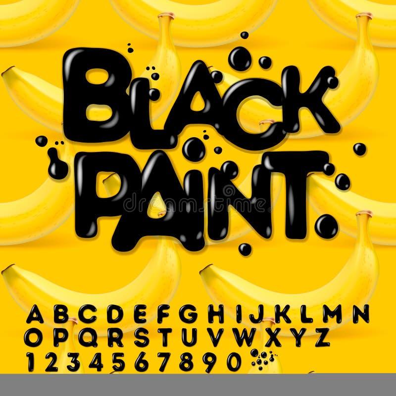 Alfabeto pintado aceite negro stock de ilustración