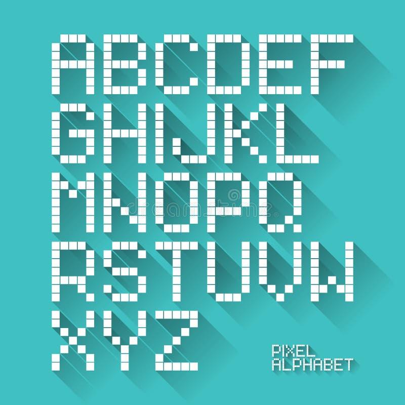 Alfabeto plano del pixel del diseño ilustración del vector