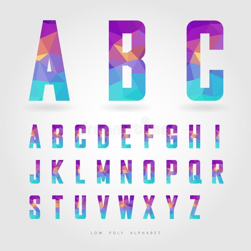 Alfabeto polivinílico bajo en concepto del polígono stock de ilustración