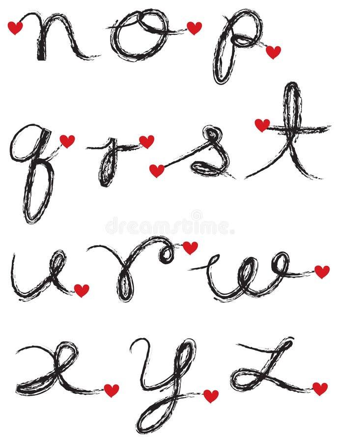 Alfabeto preto do carvão vegetal ilustração royalty free