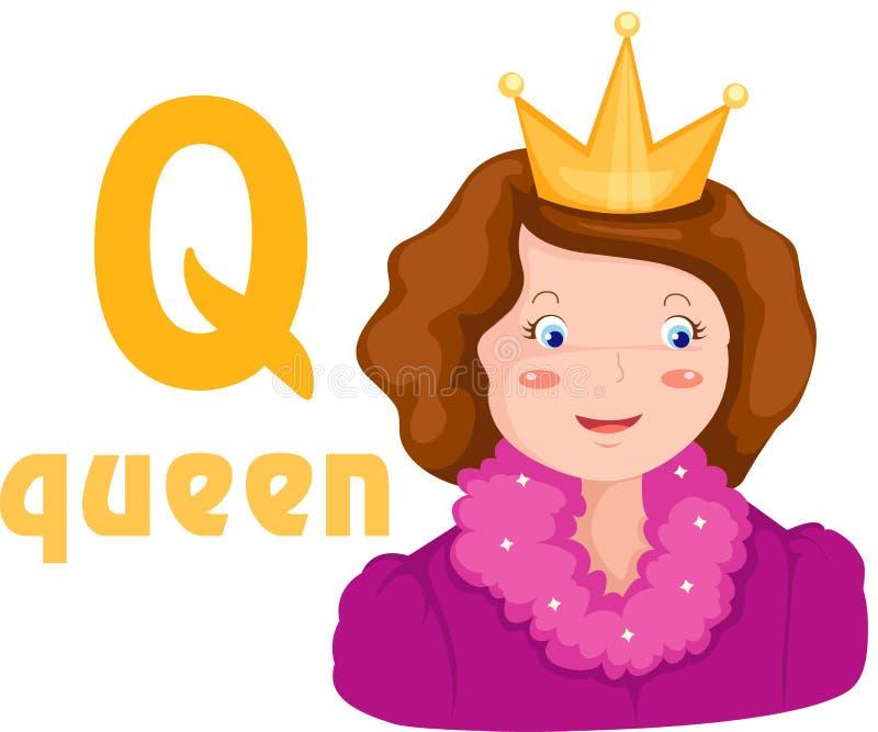 Alfabeto Q con la reina stock de ilustración