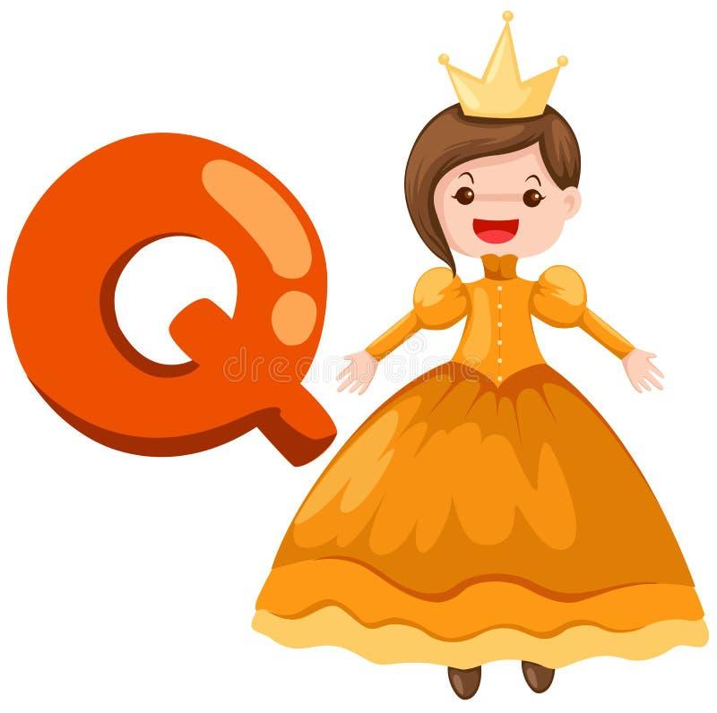 Alfabeto Q para la reina ilustración del vector