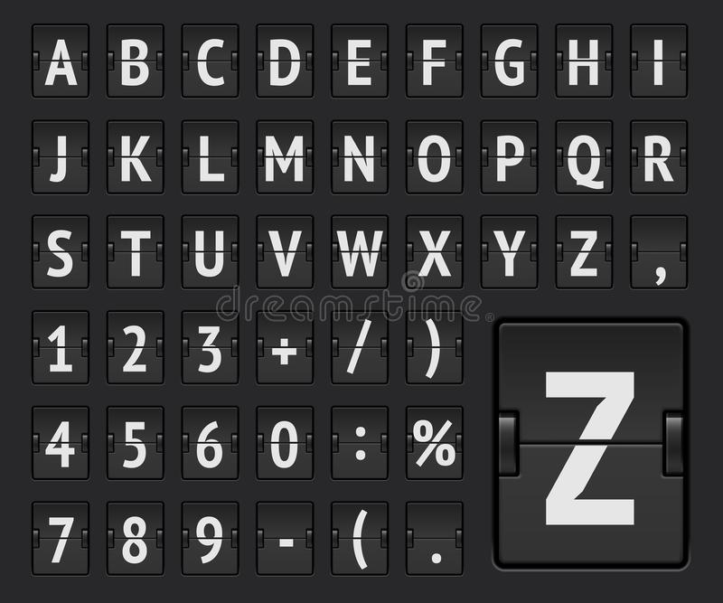 Alfabeto regolare del bordo di vibrazione di linea aerea per visualizzare la destinazione di volo o informazioni di arrivo Illust illustrazione vettoriale