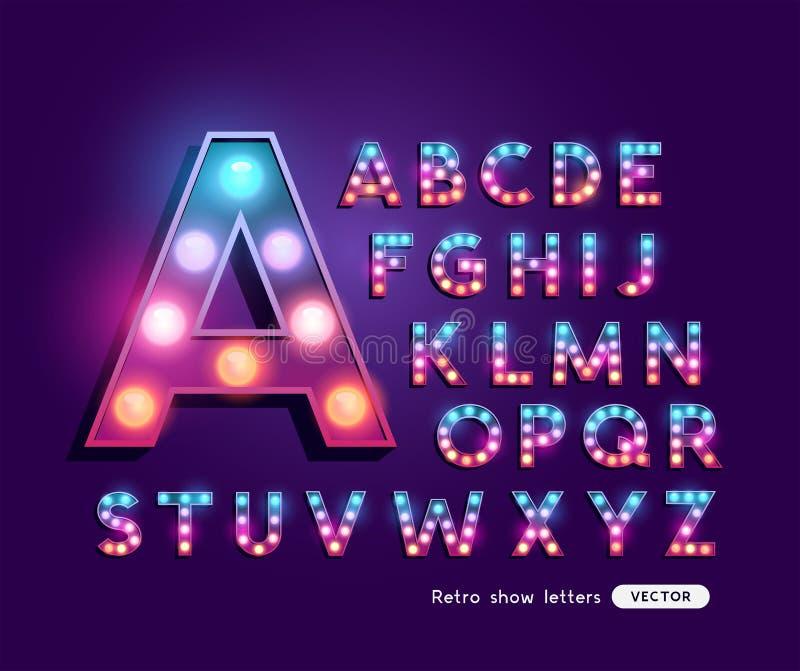 Alfabeto retro colorido de las letras del teatro stock de ilustración