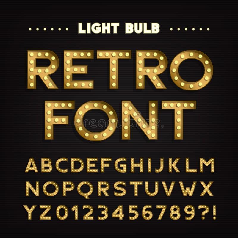 Alfabeto retro de la muestra Letras y números bulbosos ligeros del vintage Fuente del letrero stock de ilustración