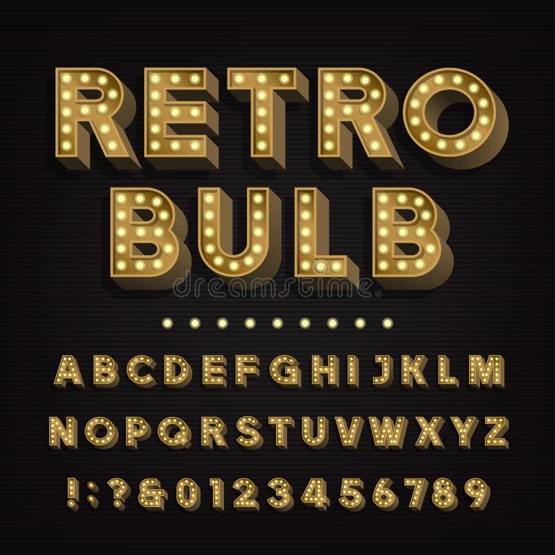 Alfabeto retro de la muestra letras y números bulbosos de la luz del vintage 3D ilustración del vector