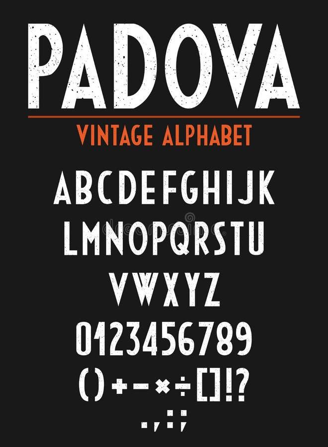 Alfabeto retro del vintage con las letras, los números y las muestras orthográficas stock de ilustración