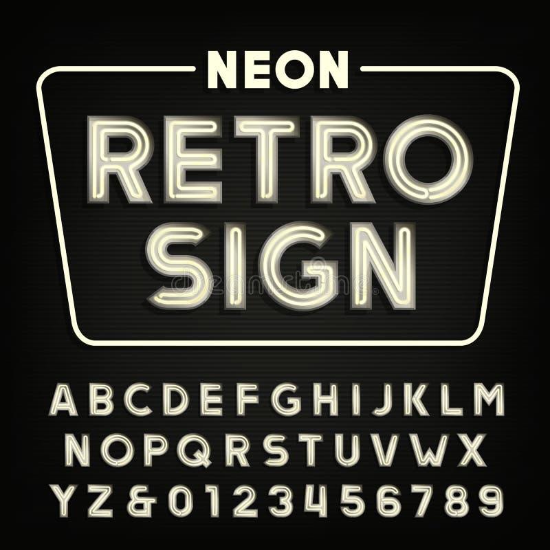 Alfabeto retro do sinal Tipo letras e números do tubo de néon do vintage ilustração royalty free