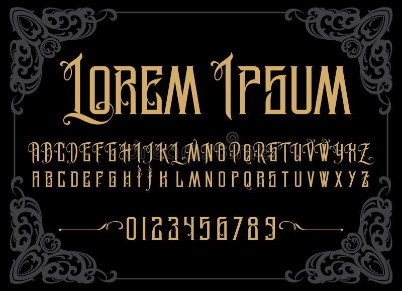 Alfabeto retro do vetor Fonte do vintage Tipografia para as etiquetas, os título, os cartazes etc. ilustração royalty free